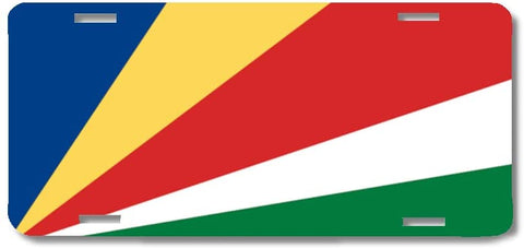 BrownInnovativeMedia Seychelles World Flag Metal License Plate Car Tag Cover
