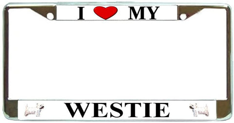 Westie Terrier Love My Dog Photo License Plate Frame Holder Chrome