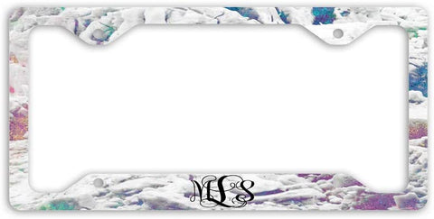 BrownInnovativeMedia Iridescent Marble Look Print Monogram Personalized Custom Initials License Plate Frame Car Tag