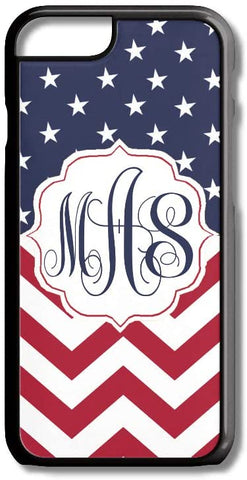 Red White Blue Stars USA Flag Custom Monogram for iPhone Case Cover 5/5S/SE/6/6S 6/6S 7 8 Plus X XS TPU