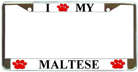 Manchester Terrier Love Paw Dog License Plate Frame Holder Chrome