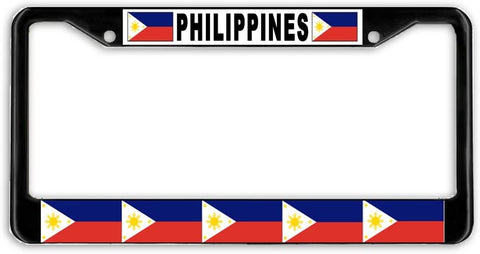 Philippines #2 Flag Black Metal Car Auto License Plate Frame Holder Black