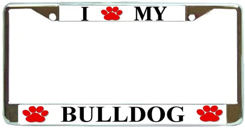 Bull Dog Love Paw Dog License Plate Frame Holder Chrome