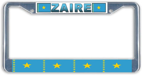 BrownInnovativeMedia Zaire Flag Metal License Plate Frame Holder Chrome