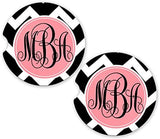 BrownInnovativeMedia Black White Chevron Custom Personalized Monogram Sandstone Car Cup Holder Matching Coaster Set