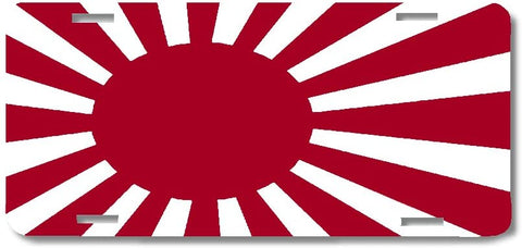 BrownInnovativeMedia Japan Navy Rising Sun World Flag Metal License Plate Car Tag Cover