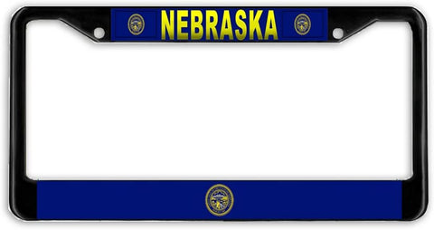Nebraska #2 State Flag Black Metal Car Auto License Plate Frame Holder Black