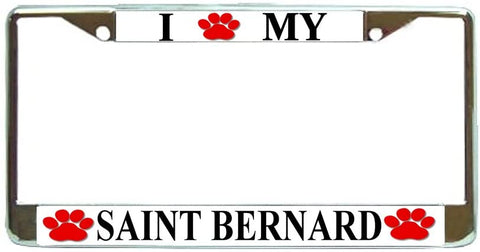 Saint Bernard Love Paw Dog License Plate Frame Holder Chrome