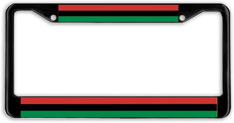 BrownInnovativeMedia Afro American African Flag Black Metal Car Auto License Plate Frame Holder Black