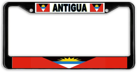 Antigua Flag Black Metal Car Auto License Plate Frame Holder Black