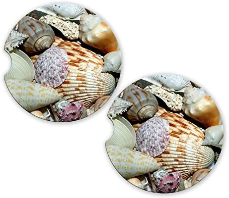 Sea Shells Photo Sandstone Car Cup Holder Matching Coaster Set