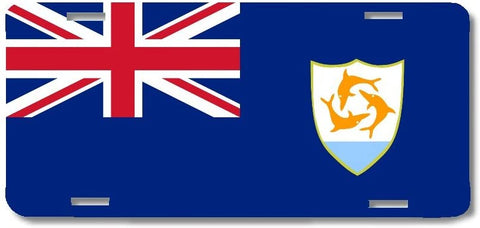 BrownInnovativeMedia Anguilla World Flag Metal License Plate Car Tag Cover