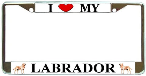 Labrador Love My Dog Photo License Plate Frame Holder Chrome