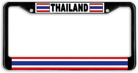 Thailand Flag Black Metal Car Auto License Plate Frame Holder Black