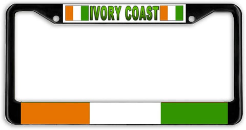 Ivory Coast Flag Black Metal Car Auto License Plate Frame Holder Black
