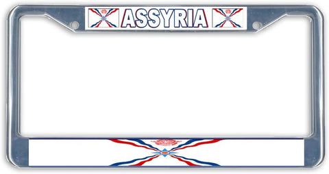 Assyria Flag Metal License Plate Frame Holder Chrome