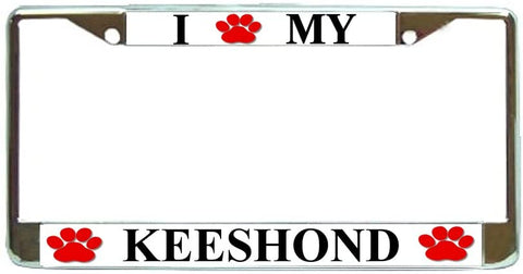 Keeshond Love Paw Dog License Plate Frame Holder Chrome