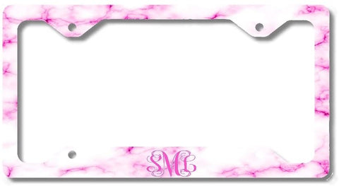 BrownInnovativeMedia White Hot Pink Marble Print Monogram Personalized Custom Initials License Plate Frame Car Tag