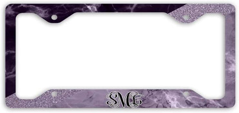 BrownInnovativeMedia Black Gray Marble Glitter Print Monogram Personalized Custom Initials License Plate Frame Car Tag
