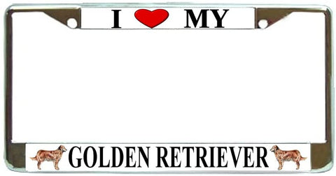 Golden Retriever Love My Dog Photo License Plate Frame Holder Chrome