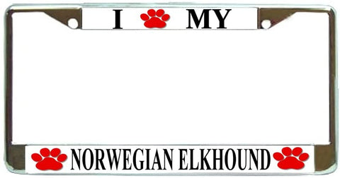 Norwegian Elkhound Love Paw Dog License Plate Frame Holder Chrome
