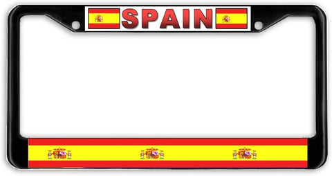 Spain Spanish Flag Black Metal Car Auto License Plate Frame Holder Black