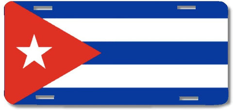 BrownInnovativeMedia Cuba World Flag Metal License Plate Car Tag Cover