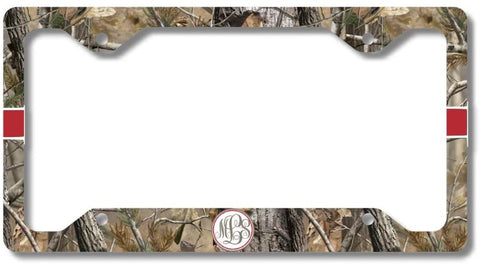Orange Monogram Deer Antlers Camo Print Monogram Personalized Custom Initials License Plate Frame Car Tag