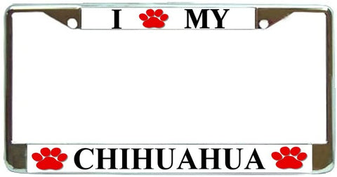 Chihuahua Love Paw Dog License Plate Frame Holder Chrome