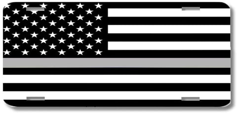 Thin Gray Line Support Correction Officers Print License Plate Car Tag