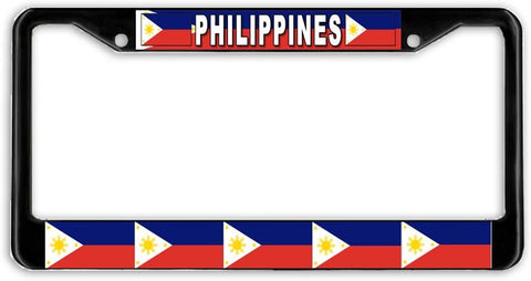 Philippines #3 Flag Black Metal Car Auto License Plate Frame Holder Black