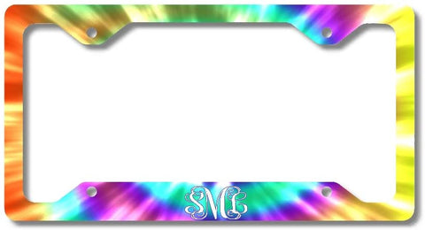 BrownInnovativeMedia Tie Dye Rainbow Hippie Print Monogram Personalized Custom Initials License Plate Frame Car Tag