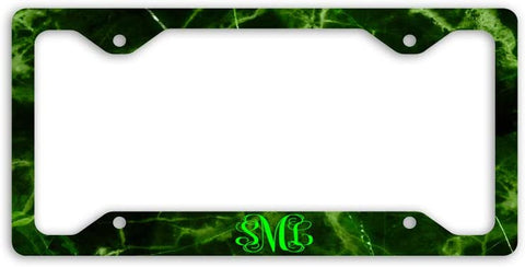 BrownInnovativeMedia Black Green Marble Print Monogram Personalized Custom Initials License Plate Frame Car Tag