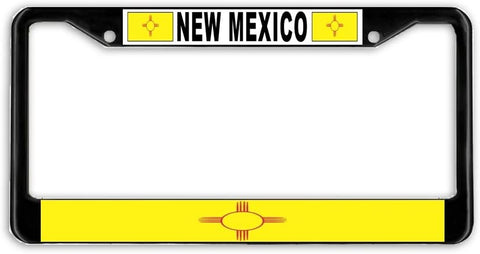 New Mexico State Flag Black Metal Car Auto License Plate Frame Holder Black