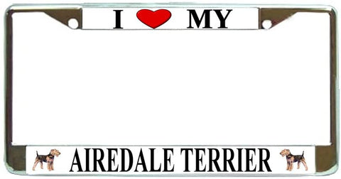 Airedale Terrier Love My Dog Photo License Plate Frame Holder Chrome
