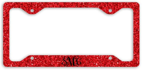 BrownInnovativeMedia Red Vine Glitter Look Print Monogram Personalized Custom Initials License Plate Frame Car Tag