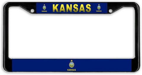 Kansas #2 State Flag Black Metal Car Auto License Plate Frame Holder Black