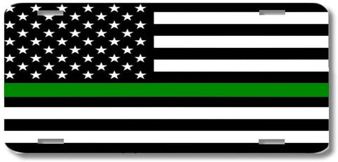 Thin Green Line Support Military Armed Forces Print License Plate Car Tag