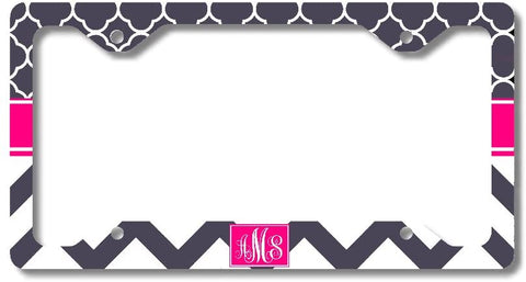 Hot Pink Gray Chevron Print Monogram Personalized Custom Initials License Plate Frame Car Tag