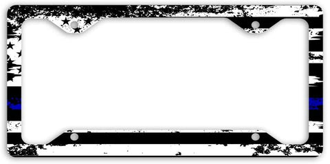 Thin Blue Line Police Officers Distressed USA Flag Personalized License Plate Frame Car Tag