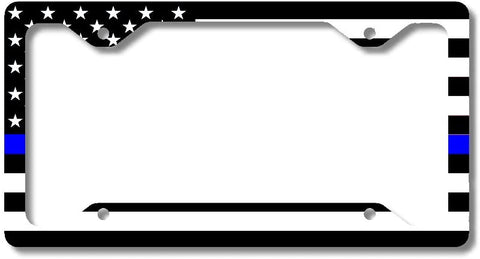 Thin Blue Line Police Officers Personalized License Plate Frame Car Tag