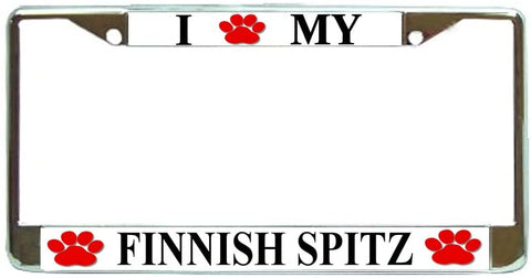 Finnish Spitz Love Paw Dog License Plate Frame Holder Chrome