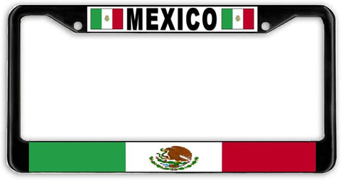 Mexico Flag Black Metal Car Auto License Plate Frame Holder Black