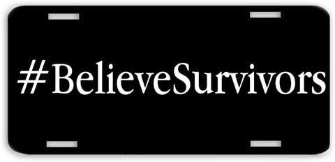 BrownInnovativeMedia Believe Survivors Women Black License Plate Car Tag