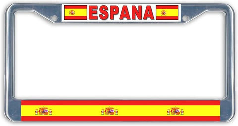 Espana Spain Flag Metal License Plate Frame Holder Chrome