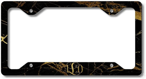 BrownInnovativeMedia Black Gold Marble Glitter Look Print Monogram Personalized Custom Initials License Plate Frame Car Tag