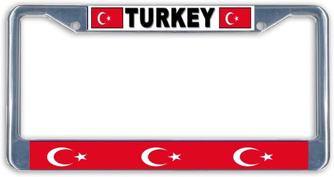 Turkey Flag Metal License Plate Frame Holder Chrome