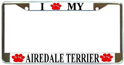 Airedale Love Paw Dog License Plate Frame Holder Chrome