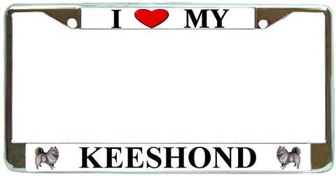 BrownInnovativeMedia Keeshond Love My Dog Photo License Plate Frame Holder Chrome