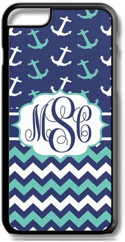 Mint Navy Anchors Chevrons Custom Monogram for iPhone Case Cover 5/5S/SE/6/6S 6/6S 7 8 Plus X XS TPU